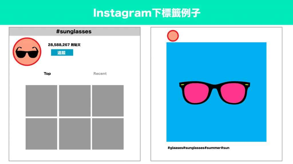 Instagram下標籤例子